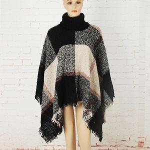 Atacado-Plaid Manto Outono Inverno Xaile alta Collar Sweater Scarf Batwing borlas Poncho para a menina malha outwear cape