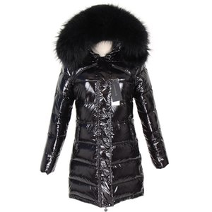 2019 Cold resistant black raccoon fur trim women shiny black coats long style down fill parkas Norway