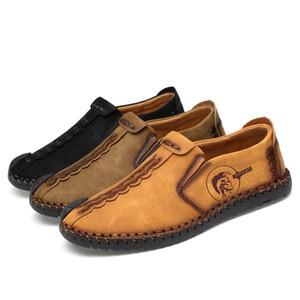 Mocasines de zapatos de cuero de los hombres ocasionales de los holgazanes del conductor mocasines Zapatos De Hombre Slip-en la costura