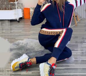 2020 maschile abbigliamento 2 pezzi Moda Donna sportiva della molla di autunno a maniche lunghe a due pezzi signore Jogger Set Autunno Tuta