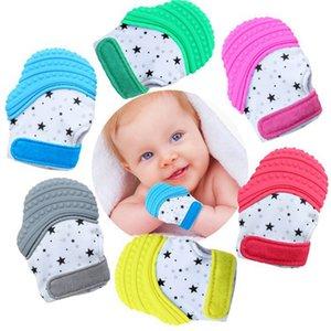 Mittens Nursing Baby Massaggiagengive Glove Silicone Teether lattante Ciuccio sonori per 6 MonthsUp Infant dentizione HHA1354