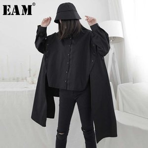 [EAM] Women Ribbon Split Big Size Irregular Blouse New Lapel Long Sleeve Loose Fit Shirt Fashion Tide Spring Summer 2020 1W302