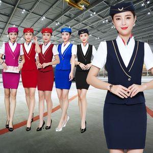Business wear women's suit stewardess empty uniform Ktv dress hotel front desk KTV beautician vest dress