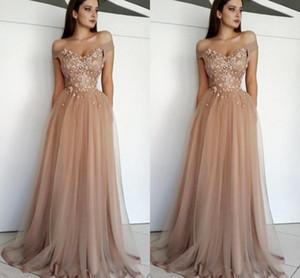 2019 어깨 장식 떨어져 새 샴페인 파티 장식 드레스 짧은 소매 얇은 명주 입고 공식 드레스 저녁 착용 저렴한 파티 드레스 BC0729