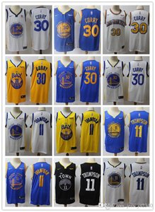 Uomo d'oroStatoWarriorsnba Throwback Klay Thompson 11 Stephen Curry 30 di basket pantaloncini da basket maglie blu bianco nero