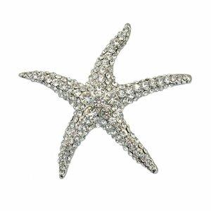 절묘한 불가사리 브로치 모조 다이아몬드 세트 브로치 화이트 K 황금 브로치