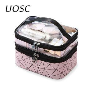 UOSC Женщины двухслойный Cosmetic Bag Make Up Organizer Сумки Путешествия Водонепроницаемый чехол для хранения туалетных Косметолог Макияж футляры Box T200519