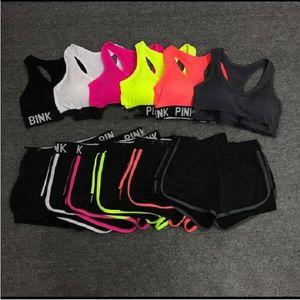 Pembe Tracksuits Pembe Letter Spor Bras Şort Takımı Yoga Spor Mahsul Şort İki parçalı Spor Egzersiz Çalışma Out Kıyafetler G7538 Running Suit Tops