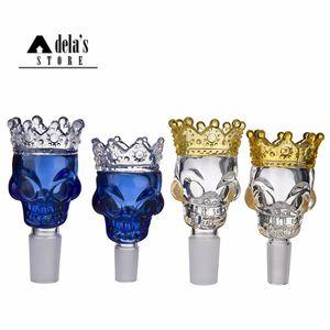 Roi Skull Big Crown Glass Bowl 14mm 18mm Homme Joint Dry Herb Holder Couleur bleu clair Bong bols de fumée outil 340 Diapo