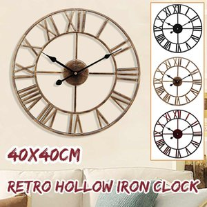 3D Circular Retro Roman Wrought Hollow Iron Vintage Large Mute Decorative Wall Clock On The Wall Decoration For Home Crafts Gift T200601