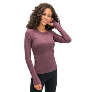 Elastik Gym Yoga Gömlek Uzun Kollu Bayan İnce Mesh Koşu Spor Ceket Hızlı Kuru Siyah Spor Tişörtü L-12 Tops