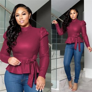 دروبشيبينغ إمرأة مصمم التي شيرت مع حزام الموضة كم طويل عادية الملابس النسائية موجز الصلبة الألوان بلايز