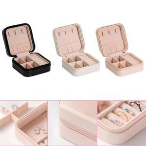 Schmuck-Box-Reisen Comestic Schmuck Schatulle Organizer Makeup Lippenstift Halskette Ring Storage Box Tragbare Leder Reißverschluss Lagerung
