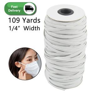 109 yardas Longitud DIY trenzada elástico Band Cord Knit Band coser Ampliamente utilizado para las máscaras de 3 mm 4 mm 5 mm