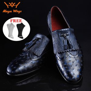 High quanlity brand loafers shoes real ostrich skin men's dress shoes luxury business leather
