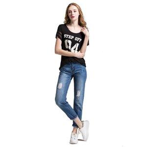 Alice Elmer Fidanzato strappato jeans donna Jeans Pantaloni metà donne Mezzo Holes denim femminili Pantaloni