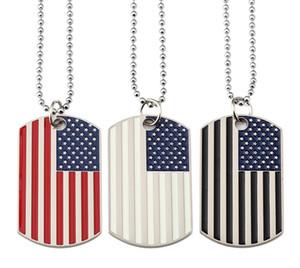 Hip Hop Drapeau américain Pendentif Colliers Armée Carte militaire Homme Charm Collier de perles de la chaîne pour les bijoux de mode de femmes