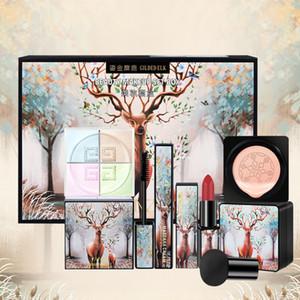 5pcs calientes / set de maquillaje Elk Conjunto del lápiz labial rimel polvo suelto BB Cream hongo pequeño amortiguador de aire del conjunto de barra de labios maquillaje