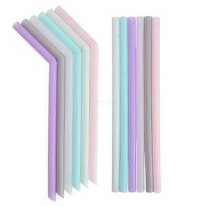 Boisson silicone Paille bonbons couleur paille réutilisable en silicone Accueil Bent droite paille plié Bar Accessoire tube de silicone outil LJJA2595-1