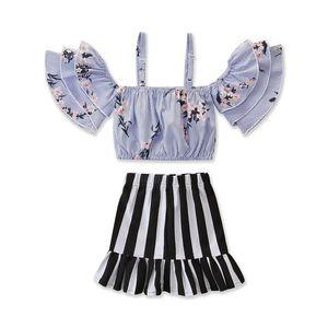 Verão novo conjunto de roupas infantis 2019 novas meninas pequena palavra fresco alça de ombro fina camisa listrada + preto e branco saia listrada terno