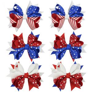 impresión de la bandera americana Barrettes del arco del pelo clips 3 estilos Swallowtail pelo de las horquillas arcos niños pinza de pelo Accesorios JY268