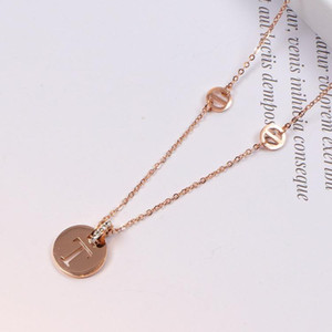 2020 New Korean Style T Letter Pendant Rose Gold Plated 18K Necklace Colored Gold Clavicle Chain Korean Style Accessories Gift