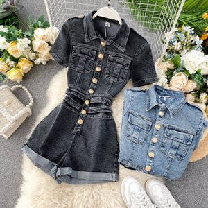 DEAT 2020 Summer New Fashion Casual Pockets Single-breasted High Waist Slim Denim Wide Leg Pants Romper Women SB903 T200702