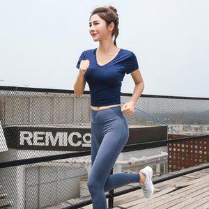 Nu-июнь женщины твист вырез назад бантом с коротким рукавом футболка грудь Pad Высокая Талия крест зашнуровать брюки фитнес тренажерный зал йога одежда набор