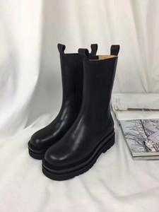 2019112902 40 black calf cow skin genuine leather slip on platform boots