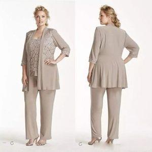 Plus Size Mutter der Braut Hosenanzug 3 Stück Chiffon Für Brautkleider Mutter Kleider mit langen Ärmeln Günstige Mütter formale Kleider