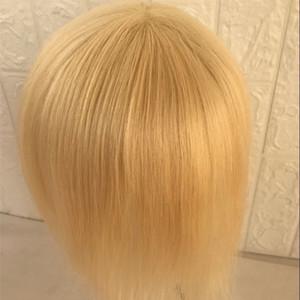 Full Pu Men Toupee Feine Pu Toupee Natürliche Gerade Hohe Qulity Full Pu 7 * 9 Zoll # 613 Blonde Männer Perücke Ersatz Systeme Für Männer
