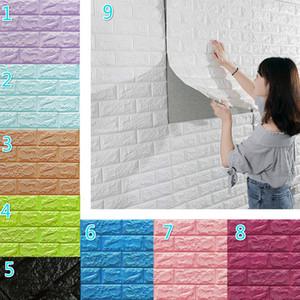거실 주방 TV의 백 드롭 장식을위한 77 * 70cm 3D 벽 스티커 모조 벽돌 침실 장식 방수 셀프 접착 벽지