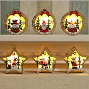 LED Ahşap Chalet Noel kolye Işıklı Ahşap Yıldız Yuvarlak Çerçeve Lambası Parlak Noel ağacı Süsleme kolye Dekorasyon 30pcs T1I1686