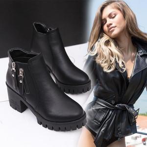 Boots Women New 2019 Zipper Women's Shoes Platform Winter Footwear Booties Ladies Round Toe High Heel Fashion 2020