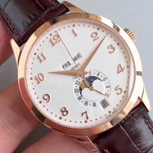 New KM Relógio de luxo 5396R Assista Real Trabalho Moonphase Calendário Miyota 9015 324S automáticos Movimento 18K Rosegold Brown Leather Men Relógios