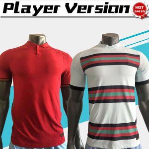 Versão do jogador # 7 Ronaldo Soccer Jerseys 19/20 Homens Casa Vermelho Branco # 23 João Félix Nation Team Soccer Shirts 2020 Uniformes de Futebol
