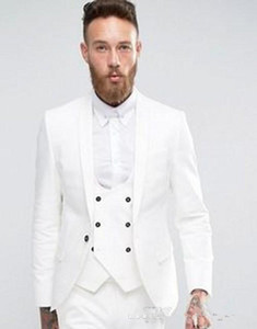 New High Quality One Button White Groom Tuxedos Shawl Lapel Groomsmen Best Man Suits Mens Wedding Suits (Jacket+Pants+Vest+Tie) 4267