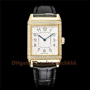 Лучшие Q2788520 мужские часы швейцарский автоматический 21600 vph сапфировое 18K золото корпус бриллиантовый безель Италия телячья кожа ремешок мужские часы