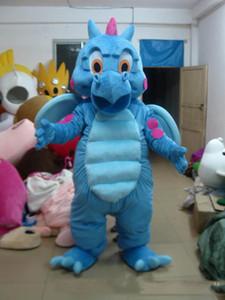 Alta qualidade Real Pictures Deluxe Blue Dragon traje da mascote