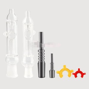 Mini Nector Kit Clear Small Glass Pipe Tips With Titanium Quartz Nail Dabber Dish 10mm 14mm Glass Pipe