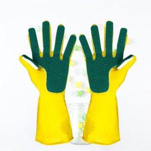 Mutfak Temiz Eldivenler Bulaşık Yıkama Yeniden kullanılabilir Temizleme Eldiven Bulaşık Pad Sünger Parmak Lateks Eldiven Toptan