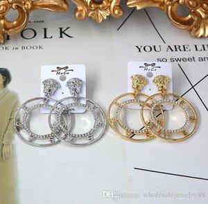 Wholesale Boho Loin Head Earrings Large Circle Letters Dangle Drop Earring Gold Silver Crystal Rhinestone Earrings Women Party Jewelry