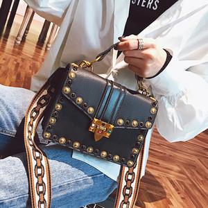 British Fashion Retro weibliche Handtasche 2018 PU-Leder-Handtaschen-Frauen-Beutel-Niet Tote Mädchen Schulter Messenger Bag