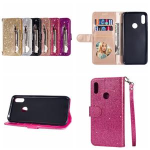 Multifuncional Capa Para Iphone 11 XS MAX XR X 10 8 7 6 S10 Nota 10 Pro 9 Bling Glitter Carteira de Couro Zipper Sparking ID Caixa Shinny Tampa