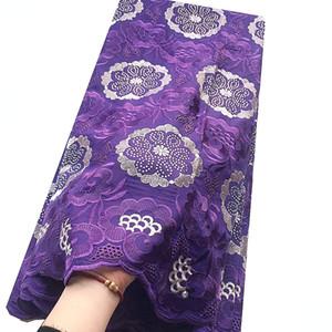 African Gold Lace Tissu 2020 de haute qualité coton suisse Laces Parti Robes Voile Violet Nigeria Afrique Dry dentelle Tissu