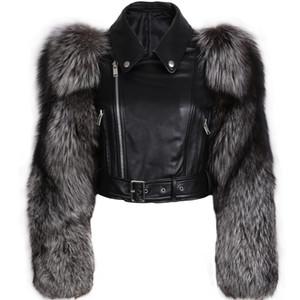 Veste en cuir véritable femmes manches de fourrure en cuir véritable et veste de la fourrure
