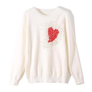 suéter de las mujeres 2020 otoño invierno del corazón dulce flor cequis moldeados niñas Jersey de punto suéter W104