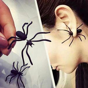 Haloween Parti DIY Dekorasyon Ev Dekorasyonu Örümcek Küpe için sıcak Cadılar Bayramı Dekorasyon 3D Ürpertici Siyah örümcek Kulak Stud Küpe