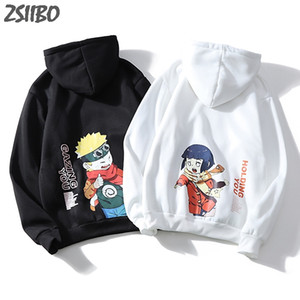 Hoodie masculino Streetwear Moda Casual Harajuku Naruto Hinata Unisex Hoodies Casal desgaste Anime japonês de Homens Impresso Moletons T200102
