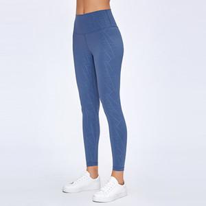 lu -20 cor sólida Nu sentimento Yoga leggings magro das calças de cintura alta Musculação Run Movimento Nove Calças Mulher cortada leggings
